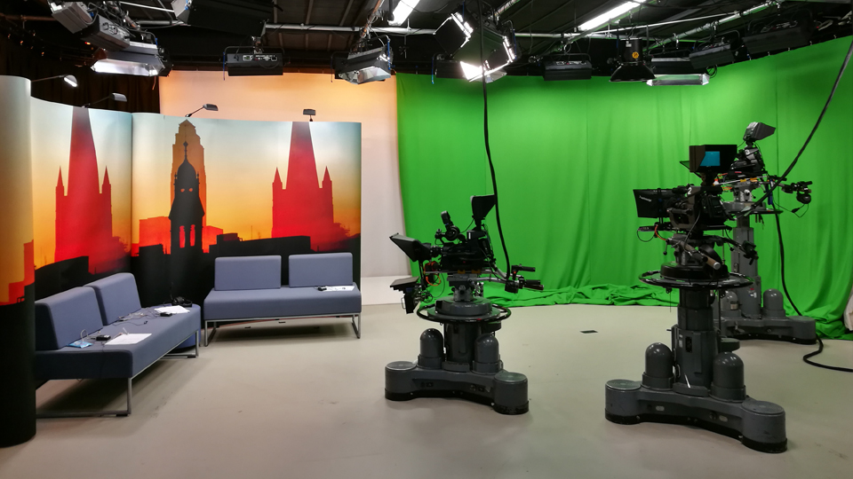 TV cameras and greenscreen in the TV studio at the University of Leeds